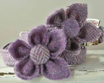 Dog collar flower corsage, Harris Tweed flower, Purple flower collar ornament