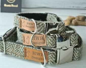 Harris Tweed Dog Collars, Tweed Dog collar, Brown Herringbone Tweed Dog Collar. Designer dog collar