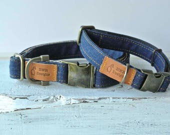 Denim Dog Collar, Blue denim dog collar, Blue Jeans dog Collar, Designer Denim Dog collar
