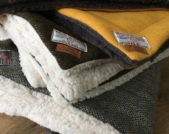 Harris Tweed Pet blanket, Luxury fleece and wool dog blanket, Cat Blanket, Pet bed
