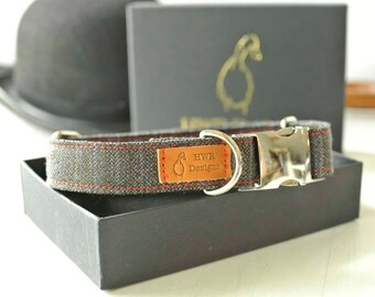 Pinstripe Wool Dog Collar, Office Dog collar, #Bringyourdogtoworkday, City Dog collar