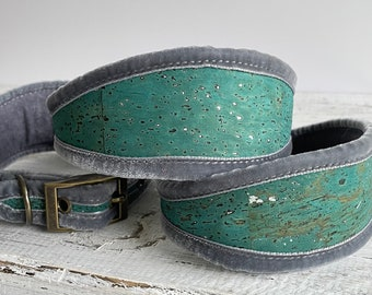 Blue and Silver  Cork Sighthound Collar