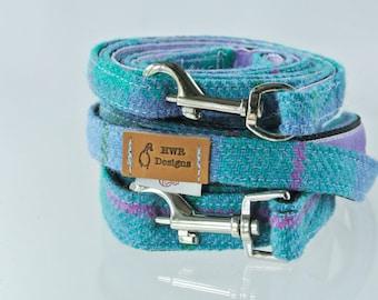 Harris Tweed Dog Leash, Turquoise plaid Tweed Dog lead. Tweed check leash, Tweed Check Dog lead.