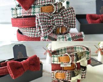 Christmas Harris Tweed Dog Collars, Holiday Tweed Dog collars, red and green  Dog Collar. Designer dog collar