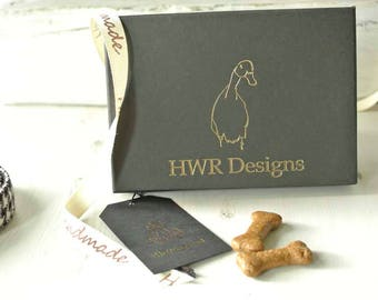 Gift box for HWR Design Harris Tweed Dog collars, leads and Bow ties,Black and Gold Gift box
