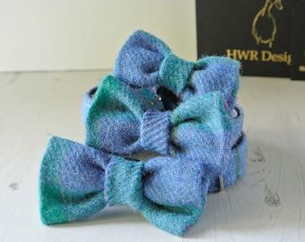 Dog Bow Tie, Harris Tweed Bow Tie, Detachable Bow tie,Blue Bow Tie, Plaid Bow tie