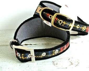 Greyhound collar, Sighthound Collar, Harris Tweed collar for whippet, gazehound collar