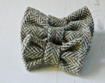 Dog Bow Tie, brown herrigbone  Harris Tweed Bow Tie, Detachable Bow tie,brown Bow Tie, Plaid Bow tie