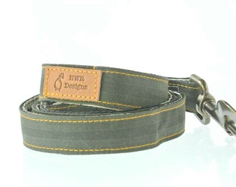Green Waxed Cotton Dog lead, green  designer dog lead, country chic  style leash