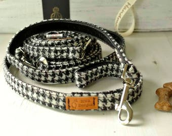 Black and White Harris Tweed Dog Leash, Houndstooth Tweed Dog lead. Tweed   Dog lead