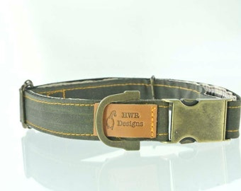Olive green wax cotton dog collar, waxed cotton dog collar, green dog collar. Now with new buckle design!