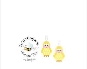 Baby Chicken Beaded Earring Pattern #425