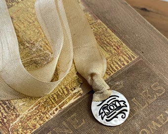 Silver Bookmark - Joy - Hand-dyed silk - Silver and Silk