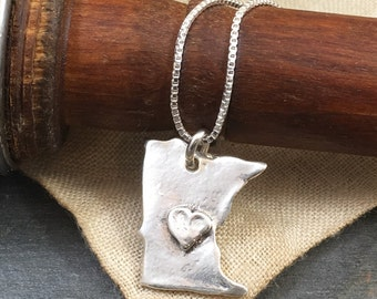 State Necklace/ Minnesota Jewelry/ Minnesota Necklace/ MN Love/ Minnesota Love Necklace/ MN Pride/ Silver State Necklace