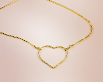 Gold Open Heart Necklace - Minimalist Gold Heart Necklace