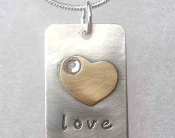 Love Necklace with Gold heart - hand stamped sterling silver