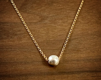 Minimalist silver bead on gold chain necklace  - Mixed Metal Necklace