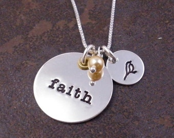 Hand Stamped Silver Necklace - Faith with Bird Charm and Pearl