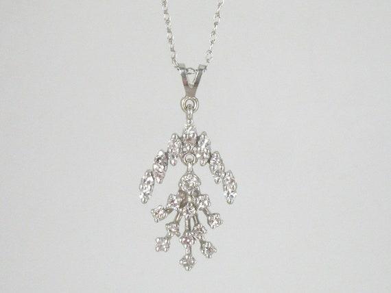 Vintage 14k White Gold and Diamond 18 Necklace WW
