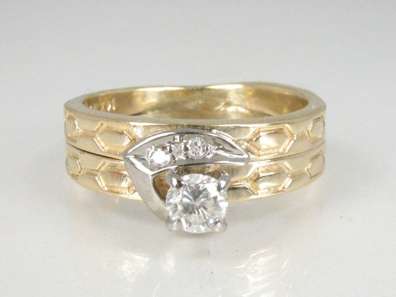 Unique Two Tone 14k Gold Vintage Diamond Bridal Wedding Ring Set Welded Set Petite Size 45 Round And Single Cut Diamonds Carved Gold