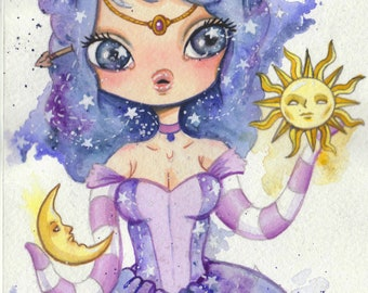 Galaxy Girl - 5 x 7  original watercolor Space