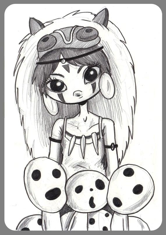 Day 231 Princess Mononoke Original Sketch A Day Drawing 5 5 X 8 5