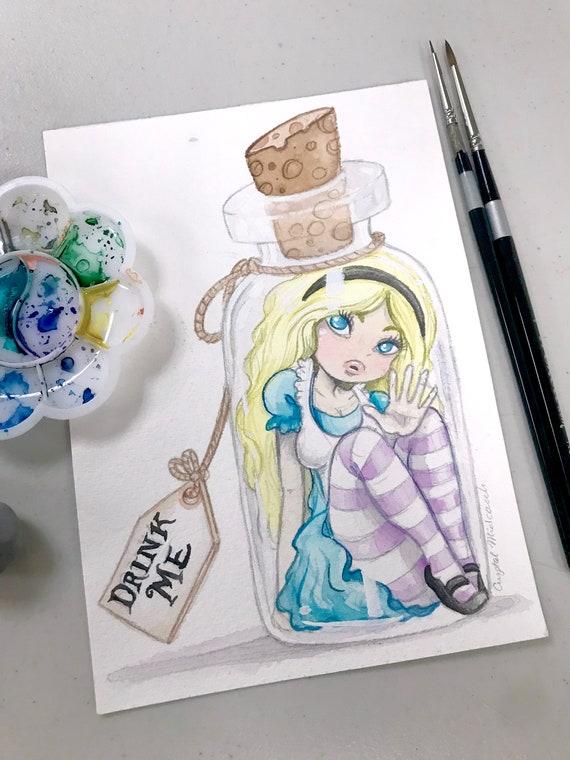 Alice in Wonderland Book Page Art Drink me Potion Art Print