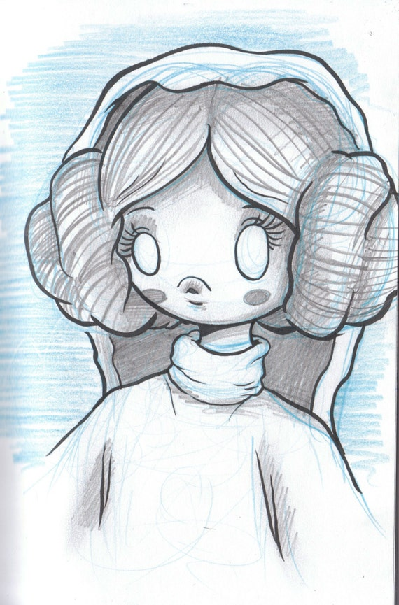 Day 1 Princess Leia Kawaii Star Wars Original Sketch A Etsy