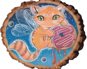 Donut Dreams - gouache on natural wood round cute fairy kitty in space