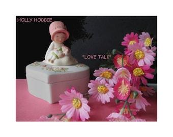 HOLLY HOBBIE Trinket Box * Figurine Trinket Box * Love Talk 1979 * Designers Collection CARING * Heart Shape