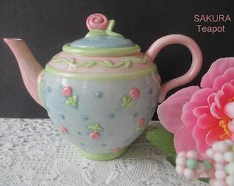 Decorative And Dainty Tea Party Teapot SAKURA Teapot Small Teapot Pink Flowers Vintage Kitchen Decor