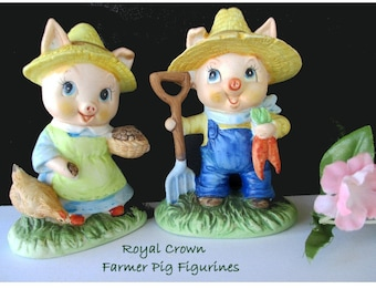 Boy And Girl Pigs Royal Crown Bisque Porcelain Set Of Two Vintage Figurines Farmer Pig Figurines