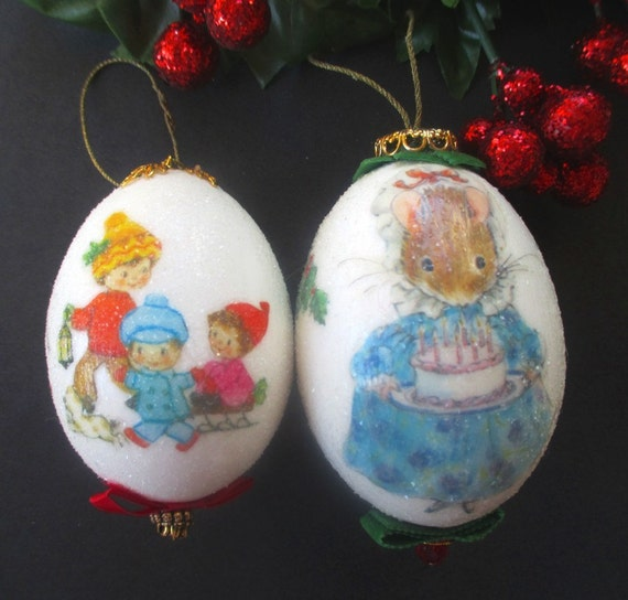 Artist Christmas Ornaments.Egg Christmas Ornaments Hand Crafted Signed By Artist Mouse Design Children With Puppies Lot Of Two Ornaments 1970s