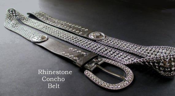 Rhinestone Concho Belt, Glitzy Belt, Dressy Belt,