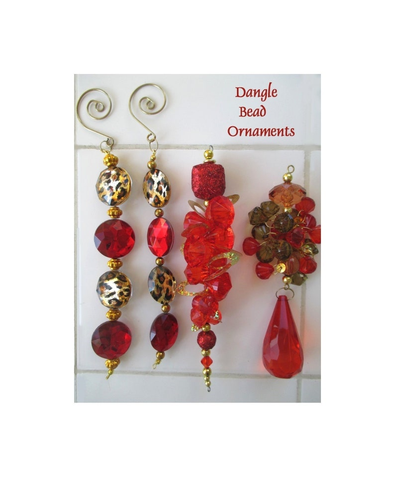 Bling Christmas Ornaments Dangle Bead Ornaments Holiday Decor For Window Or Tree Four Holiday Ornaments