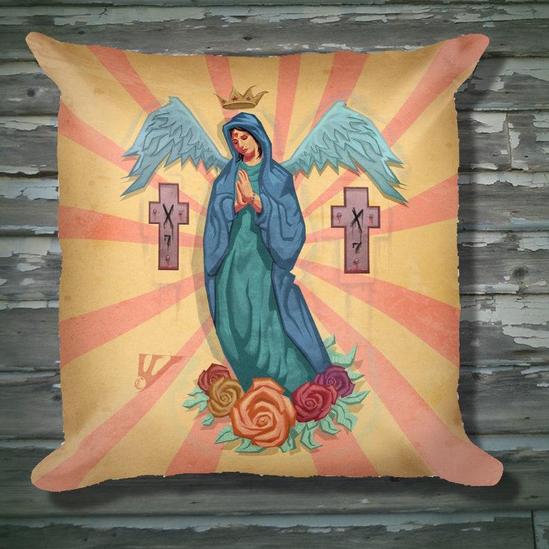 2848c8f4080ed Virgin Mary Tattoo Art Square Pillow   Etsy