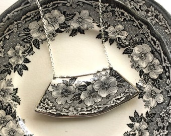 Broken china jewelry necklace, antique black and white English transferware, floral toile china, Dishfunctional Designs broken china