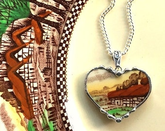 Broken china jewelry. reclaimed, recycled china heart pendant necklace antique English countryside cottage, recycled china