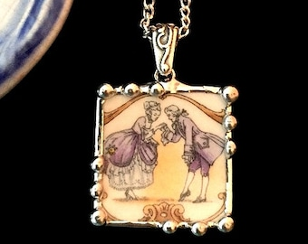 Broken china jewelry - china necklace pendant - Antique historical Americana colonial courting couple broken china jewelry