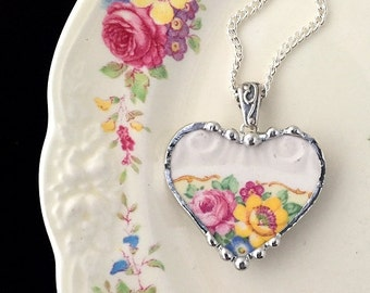 Broken china jewelry -  heart pendant necklace - antique yellow and pink roses - made from a broken plate