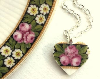 Broken china jewelry - china pendant necklace with chain - antique china heart pendant Bavarian roses - Dishfunctional Designs