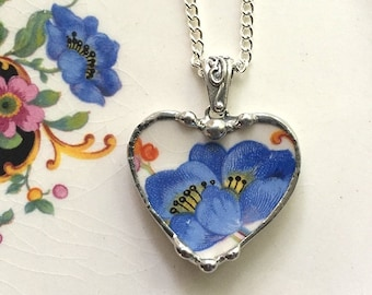 Broken china jewelry heart pendant necklace antique blue poppy poppies made from recycled china