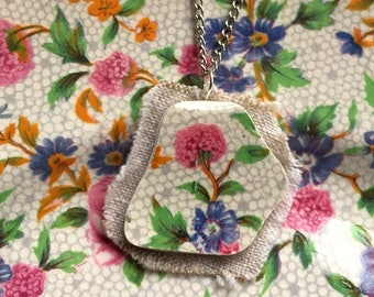 Broken china jewelry pendant necklace with chain - antique china shard on linen pendant - English chintz old cottage Dishfunctional Designs