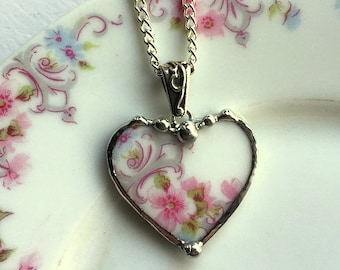 Broken china jewelry - beautiful heart pendant - broken china jewelry necklace - antique pink roses porcelain - Dishfunctional Designs