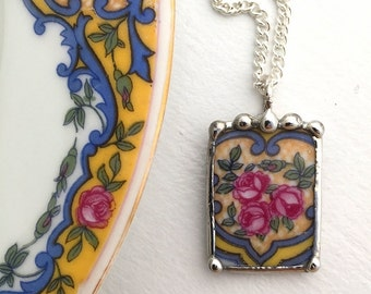 Broken china jewelry. antique china pendant necklace, pink rose porcelain, made from recycled china, Dishfunctional Designs