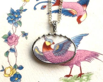 Broken china jewelry - china necklace pendant - antique colorful bird of paradise - made from broken china 1920, Dishfunctional Designs