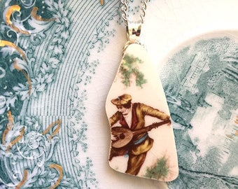Broken china jewelry - china pendant necklace with chain - antique china shard pendant - man lute guitar serenade,  Dishfunctional Designs