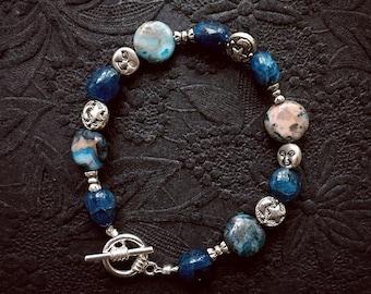 Beaded gemstone bracelet. Boho Moon and Stars Bracelet with apatite and larimar gemstone beads. Dishfunctional Designs