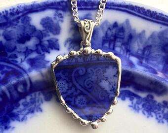 Antique Edwardian Flow Blue, porcelain necklace pendant, shield shape, broken china jewelry, upcycled, Dishfunctional Designs