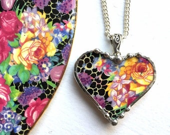 Broken china jewelry heart pendant, antique Hazel chintz, yellow rose and lilac recycled china, Dishfunctional Designs